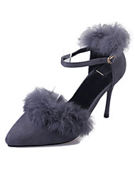Women's Heels Spring Summer Others Suede Fur Office & Career Dress Casual Stiletto Heel Pom-pom Black Red Gray