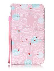 Pour Portefeuille / Porte Carte / Avec Support / Clapet / Motif Coque Coque Intégrale Coque Eléphant Dur Cuir PU pour HTC HTC Desire 626