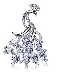 Sparkling Peacock Show off Brooch pins accessories for women Platinum plated Clear White AAA Cubic zirconia