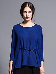 Mujer Regular Pullover Casual/Diario Simple,Un Color Azul / Gris Escote Redondo 3/4 Manga Lana / Algodón Otoño / Invierno Medio