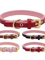 Gatos / Cães Colarinho Retratável / Confeccionada à Mão / Casual Sólido Vermelho / Preto / Marrom / Rosa Pele Genuína / Pele PU