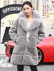 Women's Casual/Daily Simple Fur Coat,Solid Long Sleeve Black / Gray Wool / Fox Fur Thick