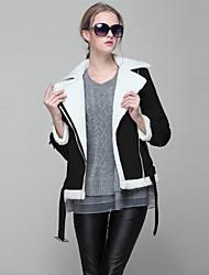 JoanneKitten Women's Going out / Casual/Daily / Holiday Simple / Street chic / Sophisticated Jackets Solid / Patchwork Shirt CollarLong