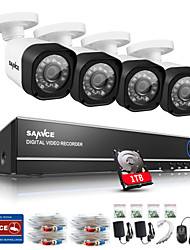 SANNCE® CCTV System 4CH Full 720P AHD DVR 4PCS 1.0MP Outdoor Home Security CCTV Camera Video Surveillance Kit 1TB HDD