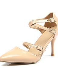 Feminino-Sandálias-Sapatos com Bolsa Combinando-Salto Agulha-Preto / Vermelho / Amêndoa-Courino-Escritório & Trabalho / Casual / Festas &