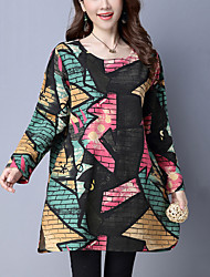 Women's Casual/Daily Street chic Loose Dress Color Block Round Neck Above Knee Long Sleeve Multi-color Cotton Spring / Fall