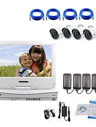 caméra ip strongshine® avec 720p / infrarouge / résistant à l'eau et NVR avec des kits combo lcd 10.1inch