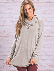 Tee-shirt Femme,Couleur Pleine Sortie / Décontracté / Quotidien simple / Chic de Rue Printemps / Automne Manches Longues Asymétrique Gris