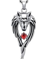 Homens Colares com Pendentes Formato Animal Lobo imitação de diamante Liga Estilo Punk Moda Jóias de Luxo Personalizado Branco Vermelho