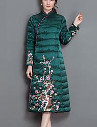 Manteau Rembourré Femme,Long Chinoiserie Sortie Broderie-Nylon Polyester Manches Longues Noir / Vert Mao