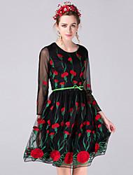 Dámské Čínské vzory Běžné/Denní Pouzdro Šaty Výšivka,Dlouhý rukáv Kulatý Maxi Černá Polyester Podzim Mid Rise Neelastické Střední