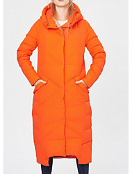 Women's Long Down Coat,Sexy / Simple Going out / Casual/Daily / Holiday Solid-Polyester White Duck Down Long Sleeve Hooded Blue / Orange