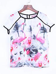 Damen Blumen T-shirt - Polyester Kurzarm Rundhalsausschnitt