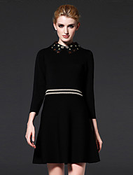 FRMZ Women's Casual/Daily / Formal / Party/Cocktail Vintage / Simple A Line DressSolid Peter Pan Collar Above Knee Long Sleeve Black Rayon