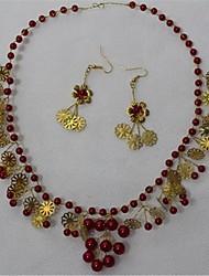 Schmuck 1 Halskette 1 Paar Ohrringe Kristall Imitierte Perlen Hochzeit Party 1 Set Damen Rot Hochzeitsgeschenke