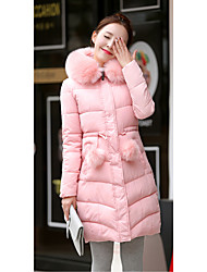2016 new Korean version of Slim thin feather padded thick and long sections Nagymaros collar coat Female Sign