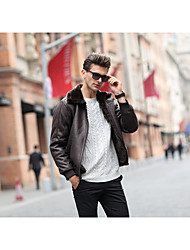 Men's Casual/Daily Vintage / Simple Jackets,Solid Shirt Collar Long Sleeve Winter Black / Brown PU Thick