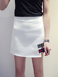 Mujer Tallas Grandes Faldas,Línea A Un Color / EstampadoSencillo Tiro Medio Casual/Diario Sobre la Rodilla Elasticidad Poliéster
