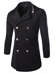 Men's Casual/Daily Street chic Trench Coat,Solid Peter Pan Collar Long Sleeve All Seasons Black / Gray Cotton Medium