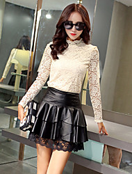Women's Pencil Solid Skirts,Casual/Daily Sexy Low Rise Above Knee Zipper Polyester Micro-elastic Spring
