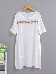 Women's Going out Vintage A Line Dress,Print Round Neck Midi Short Sleeve White Cotton Summer High Rise Micro-elastic Medium