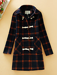 Women's Going out Vintage Coat,Plaid Long Sleeve White Polyester