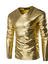 Herren Solide Einfach / Punk & Gothic Lässig/Alltäglich / Party/Cocktail T-shirt,V-Ausschnitt Frühling / Herbst LangarmSchwarz / Gold /