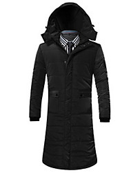 Men's Long Padded Coat,Simple Going out / Beach / Holiday Solid-Cotton Cotton Long Sleeve Black / Green