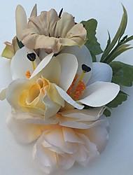 Bouquets de Noiva Rosas Lírios Alfinetes de Lapela Casamento Festa / noite Cetim