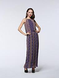 Women's Going out / Beach / Holiday Sexy / Cute / Chinoiserie Sheath Dress,Geometric Round Neck Midi Sleeveless Purple Polyester Summer