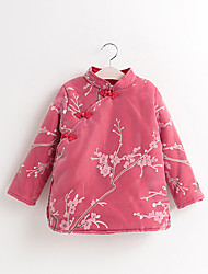 Girl's Casual/Daily Floral Dress,Cotton Winter Long Sleeve