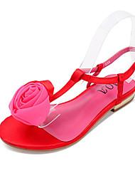 Women's Sandals Summer Slingback Pigskin Casual Flat Heel Flower Black / Blue / Pink / Red Others