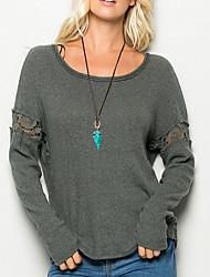 Damen Solide Einfach / Street Schick Ausgehen / Lässig/Alltäglich T-shirt,Rundhalsausschnitt Alle Saisons Langarm Grau Kunstseide Dünn
