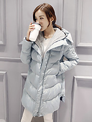 Women's Down Coat,Simple Casual/Daily Solid-Others White Duck Down Long Sleeve Blue / Pink / Black