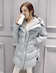 Manteau Doudoune Femme simple Décontracté / Quotidien Couleur Pleine-Autres Duvet de Canard Blanc Manches Longues Bleu / Rose / Noir