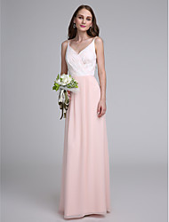 LAN TING BRIDE Floor-length Spaghetti Straps Bridesmaid Dress - Color Block Sleeveless Chiffon