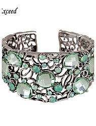 2016 Brand New Arrival Silver Plated Decorate With Green Resin Hollow Pattern Cuff for Women BL140108