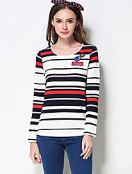 Mujer Regular Pullover Casual/Diario Simple,A Rayas Azul / Rojo Escote Redondo Manga Larga Rayón / Poliéster / Nailon Otoño Medio