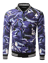 Men's Casual/Daily / Sports Active / Tops JacketsPrint Stand Long Sleeve Fall / Winter Blue Cotton / Polyester