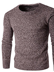 Men's Going out / Party/Cocktail Sexy / Simple / Cute Regular Cardigan,Solid Blue / Red / Brown / Gray Round Neck Long Sleeve CottonFall
