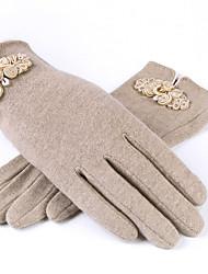 Для женщин На каждый день До запястья С пальцами,Зима Шерсть Однотонный