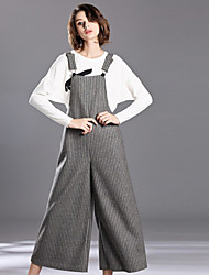 Women's Slim Overalls Pants,Casual/Daily Simple Solid High Rise Elasticity Polyester / Wool Micro-elastic Fall / Winter