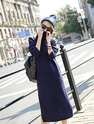 Tricot Robe Femme Sortie / Décontracté / Quotidien Mignon,Couleur Pleine Col Arrondi Midi Manches Longues Bleu / Noir / Gris Coton Automne
