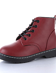 Черный Бордовый-Женский-Повседневный-Полиуретан-На платформе-На платформе-Ботинки