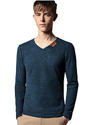 Men Europe And The United States Large Cotton Hemp Hollow Out Shirt New Casual V-Neck Long-Sleeved T-Shirt Male
