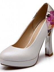 Damen-High Heels-Büro Lässig Kleid-Kunstleder-BlockabsatzWeiß Blau Rosa