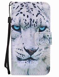 For Motorola G4 Play G4 Case Cover White Leopard Painted Lanyard PU Phone Case