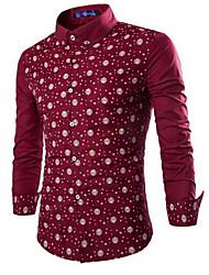 Men's Casual/Daily Simple Fall Shirt,Galaxy Shirt Collar Long Sleeve Multi-color Cotton Medium