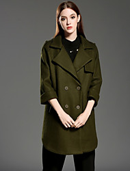 INPLUS LADY Women's Casual/Daily Vintage CoatSolid Notch Lapel Long Sleeve Winter Blue / Green Wool / Polyester Medium