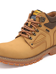 Men's Boots Hiking Snow Boots Cowhide Fall Winter Athletic Casual Outdoor Lace-up Flat Heel Dark Brown Light Brown Yellow Flat